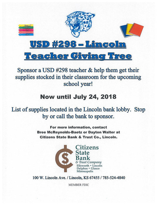 USD 298 Lincoln Teacher Giving Tree
