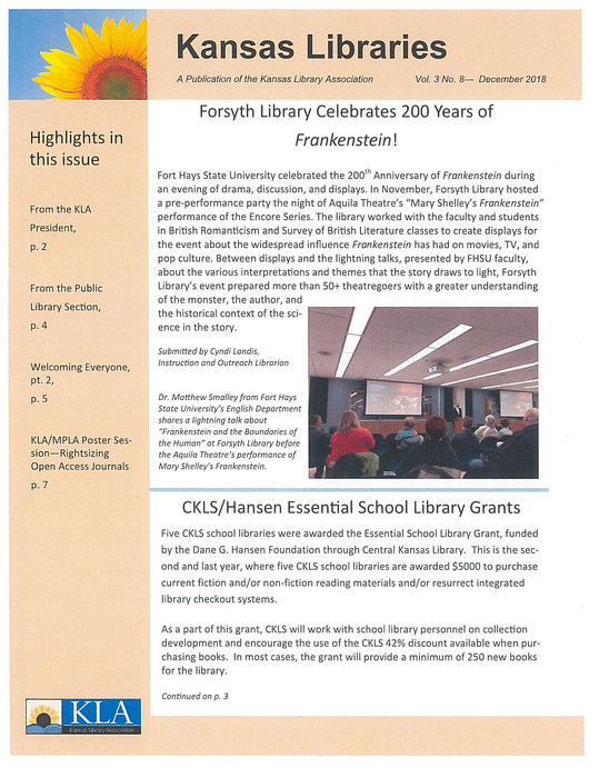 Kansas Libraries newsletter - pg 1