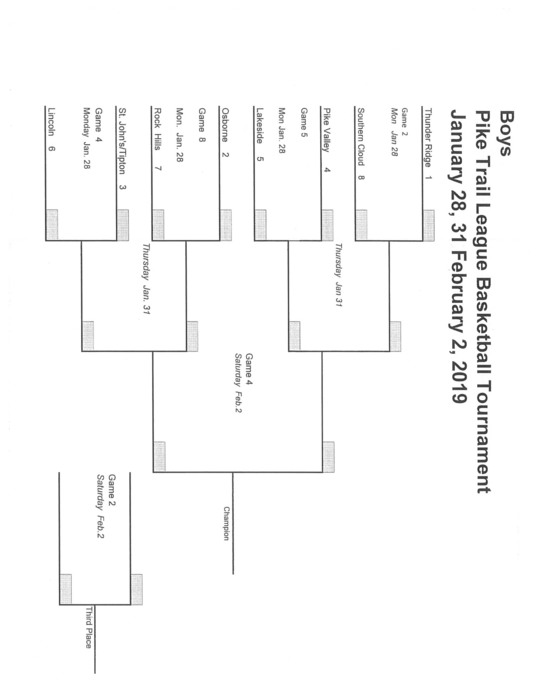 Boys JH PTL Tournament Bracket